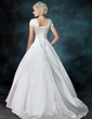 Ball-Gown Scoop Neck Court Train Satin Wedding Dress With Ruffle Beading Sequins (002011976)
