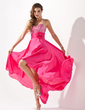 A-Line/Princess Sweetheart Asymmetrical Detachable Satin Chiffon Prom Dress With Ruffle Beading Flower(s) Sequins (018020801)