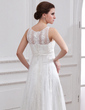 A-Line/Princess Scoop Neck Sweep Train Tulle Wedding Dress With Lace Beading (002004543)