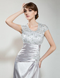 A-Line/Princess Scoop Neck Court Train Charmeuse Lace Mother of the Bride Dress With Ruffle Beading Sequins (008006138)