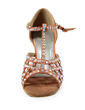 Women's Satin Heels Sandals Latin Ballroom With Rhinestone T-Strap Dance Shoes (053019912)
