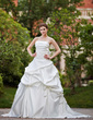 Ball-Gown Strapless Cathedral Train Satin Wedding Dress With Ruffle Bow(s) (002000649)