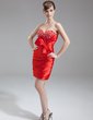 Sheath/Column Sweetheart Short/Mini Charmeuse Cocktail Dress With Beading Bow(s) (008016273)