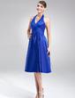 A-Line/Princess Halter Knee-Length Charmeuse Bridesmaid Dress With Ruffle (007020674)