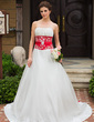 A-Line/Princess Sweetheart Chapel Train Satin Wedding Dress With Embroidered Ruffle Sash Beading (002001156)