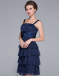 A-Line/Princess Square Neckline Knee-Length Chiffon Lace Mother of the Bride Dress With Ruffle (008029102)
