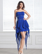 A-Line/Princess Strapless Asymmetrical Chiffon Prom Dress With Beading Cascading Ruffles (018020897)