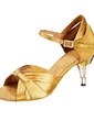 Women's Satin Heels Sandals Latin With Rhinestone Buckle Dance Shoes (053013168)