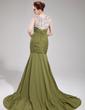 Trumpet/Mermaid Sweetheart Court Train Chiffon Evening Dress With Ruffle Beading Sequins (017019469)
