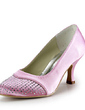 Women's Satin Low Heel Closed Toe Pumps With Rhinestone (047020195)