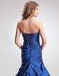 Trumpet/Mermaid Sweetheart Floor-Length Taffeta Prom Dress With Ruffle Beading (018004995)