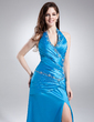 A-Line/Princess Halter Floor-Length Charmeuse Prom Dress With Ruffle Beading Split Front (018015877)