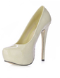 Women's Patent Leather Stiletto Heel Pumps Platform Closed Toe shoes (085015256)