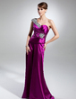 A-Line/Princess One-Shoulder Floor-Length Charmeuse Mother of the Bride Dress With Ruffle Beading (008015365)