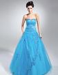 Balowa Kochanie Do Podłogi Satin Tulle Suknia na Uroczystość Quinceanera Z Perełki Naszywki Cekiny (021015113)