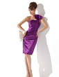 Sheath/Column One-Shoulder Knee-Length Charmeuse Cocktail Dress With Ruffle (016005836)