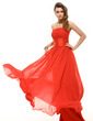 Empire Strapless Floor-Length Chiffon Holiday Dress With Ruffle (020016066)