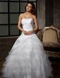 Ball-Gown Sweetheart Floor-Length Taffeta Tulle Wedding Dress With Flower(s) Cascading Ruffles (002011920)