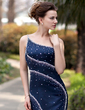 Trumpet/Mermaid One-Shoulder Court Train Satin Evening Dress With Beading (017022936)
