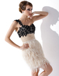 Sheath/Column One-Shoulder Short/Mini Feather Cocktail Dress With Ruffle Beading Sequins (016008351)