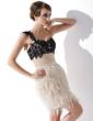 Kılıf Tek-Omuzlu Kısa/Mini Chiffon Lace Feather Kokteyl Elbisesi Ile Büzgü Boncuklama Pullarda (016008351)