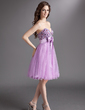 Empire Sweetheart Knee-Length Tulle Homecoming Dress With Beading Bow(s) (022016296)