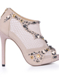 Suede Stiletto Heel Sandals Platform Peep Toe Ankle Boots With Rhinestone shoes (085026361)