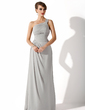 A-Line/Princess One-Shoulder Watteau Train Chiffon Evening Dress With Ruffle Beading (017002625)