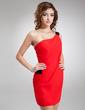 Wąska Jednoramienna Krótka/Mini Chiffon Sequined Suknia Koktajlowa Z Szarfy (016008881)