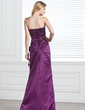 Trumpet/Mermaid Strapless Floor-Length Satin Bridesmaid Dress With Ruffle Flower(s) (007001141)