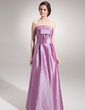 A-Line/Princess Strapless Floor-Length Taffeta Bridesmaid Dress With Ruffle (007000778)