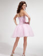 A-Line/Princess Sweetheart Knee-Length Tulle Homecoming Dress With Ruffle Beading Sequins (022011130)