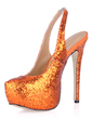 Sparkling Glitter Stiletto Heel Pumps Platform Closed Toe shoes (085017466)