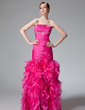 Trumpet/Mermaid Strapless Floor-Length Organza Prom Dress With Beading Cascading Ruffles (018020322)