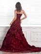 Balo Elbisesi Askısız Şapel Kuyruk Taffeta Gelinlik Ile Büzgü Çiçek(ler) (002000481)