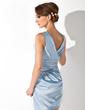 Sheath/Column V-neck Short/Mini Charmeuse Cocktail Dress With Ruffle Beading (016021174)