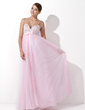 Empire Sweetheart Floor-Length Satin Tulle Evening Dress With Beading Sequins (017004348)