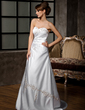 A-Line/Princess Sweetheart Court Train Satin Wedding Dress With Embroidered Ruffle Beading Sequins (002011510)