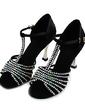Dla kobiet Satin Obcasy Sandały Latynoska Sala Balowa Z Rhinestone T-Strap Buty do Tańca (053013456)