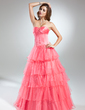 Ball-Gown Sweetheart Floor-Length Organza Quinceanera Dress With Beading Cascading Ruffles (021015579)