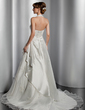 A-Line/Princess Halter Court Train Taffeta Wedding Dress With Ruffle Lace Beading (002014817)