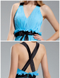 A-Line/Princess V-neck Floor-Length Chiffon Bridesmaid Dress With Ruffle Sash Bow(s) (007019619)