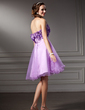 A-Line/Princess Sweetheart Knee-Length Tulle Homecoming Dress With Ruffle Beading Flower(s) Sequins (022020846)