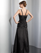A-Line/Princess Floor-Length Taffeta Evening Dress With Ruffle Beading Appliques Lace (017014828)