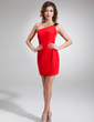 Sheath/Column One-Shoulder Short/Mini Chiffon Cocktail Dress With Sash (016008881)