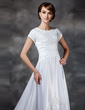 A-Line/Princess Square Neckline Asymmetrical Satin Wedding Dress With Ruffle Lace Beading (002017418)