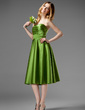 A-Line/Princess Sweetheart Knee-Length Satin Bridesmaid Dress With Ruffle (007000955)