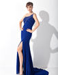 Trumpet/Mermaid One-Shoulder Sweep Train Chiffon Mother of the Bride Dress With Beading Split Front (008015147)