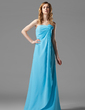 Sheath/Column Strapless Floor-Length Chiffon Bridesmaid Dress With Ruffle Flower(s) (007004157)