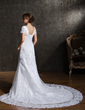 Trumpet/Mermaid Sweetheart Cathedral Train Tulle Lace Wedding Dress With Beading (002011596)